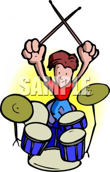 Drummer in a Rock Band with Drum Set