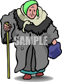 Old Woman Wearing a Heavy Winter Coat