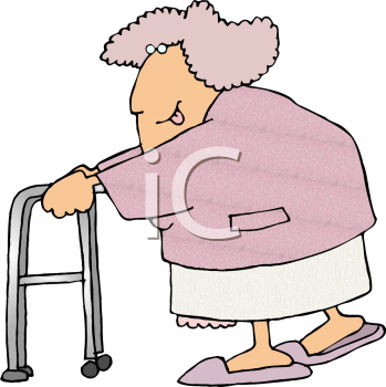 "This ""old lady with a walker"" clip art image is available as part of a"