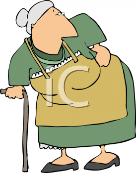Old Woman with a Bad Hip - Royalty Free Clip Art Image