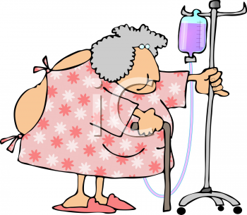 Old Lady In the Hospital Pushing Her IV Stand