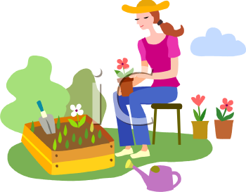Royalty free clipart image woman planting flowers