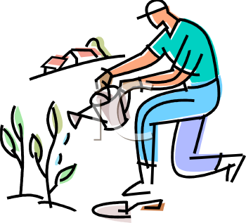 Man Watering His Garden