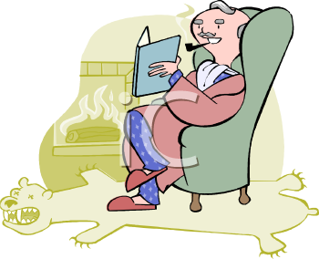 Wealthy Man Relaxing with a Book