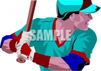 Realistic Style Baseball Player Clip Art