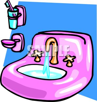 Bathroom on Bathroom Sink With The Water Running   Royalty Free Clip Art