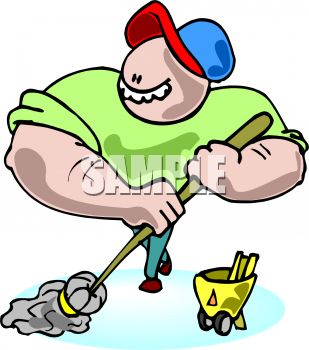 Muscle-Bound Janitor with a Mop