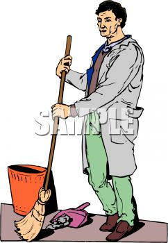 Guy Sweeping Trash into a Dust Pan
