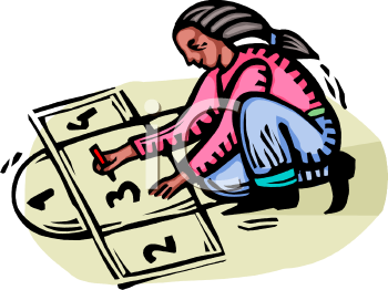 African American Girl Playing Hopscotch