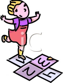 royalty free clip art image: girl playing hopscotch