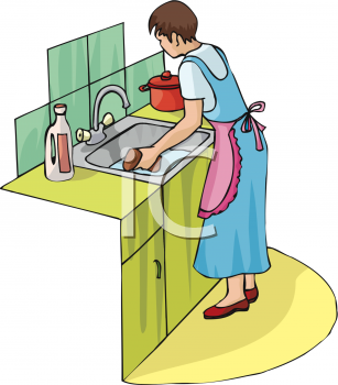 Woman Cleaning Her Kitchen Sink