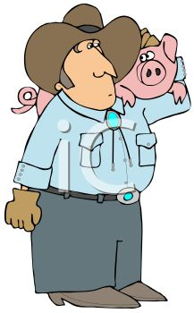 Farmer Holding a Pig on His Shoulder