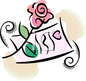 Valentine Love Letter and a Rose  Royalty Free Clipart Image