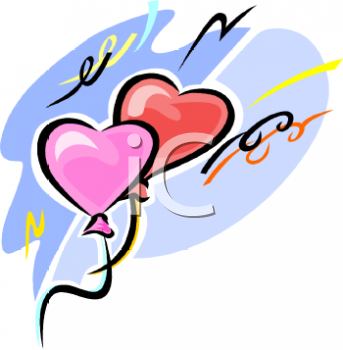"This ""heart shaped valentine balloons"" clip art image is available as part"