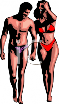 Realistic Clip Art of a Couple in Bathing Suits Walking on a Beach