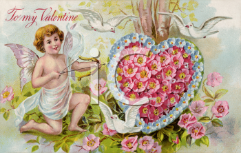 Victorian Valentine Card Showing a Cupid and a Heart Made of Peonies