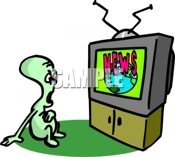 Royalty Free Clip Art Image Alien Watching The Television News