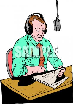 Radio Sportcaster Giving a Report