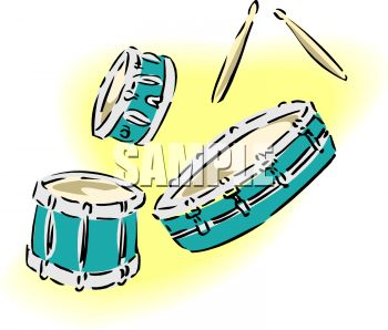 Separate Drums and a Set of Drum Sticks