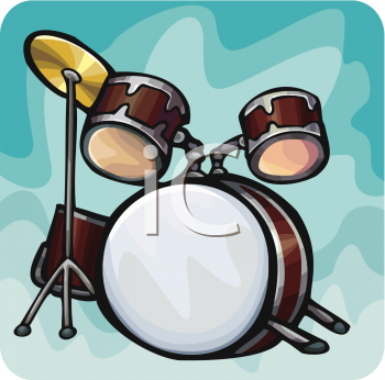 3 Piece Drum Set with One Cymbal - Royalty Free Clip Art Picture