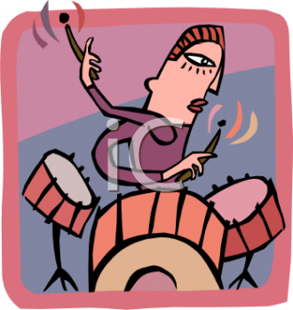 Cartoon of a Drummer Playing on a Jazz Kit