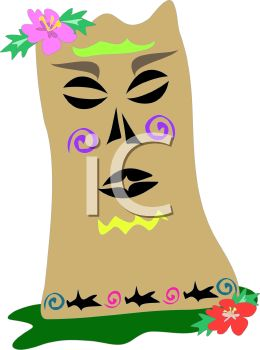 Tiki Mask with Flowers