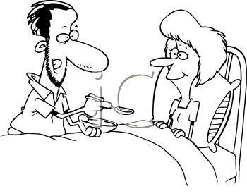 Black and White Cartoon of a Man Feeding a Woman Who's Sick in Bed