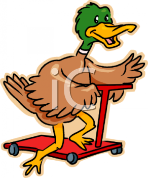 Cartoon Duck Riding a Scooter