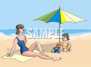 Boy and His Mother at the Beach