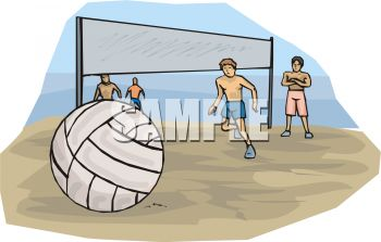 Guys Playing Volleyball on the Beach