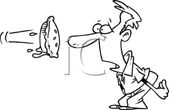 Black and White Cartoon of a Pie Hitting a Man in the Face
