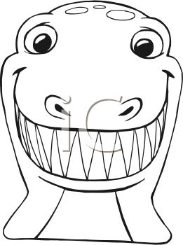 0511-0902-0419-1009_Black_and_White_Cartoon_of_a_T_Rex_Face_clipart_image