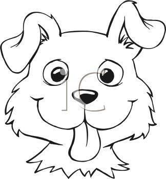 Royalty Free Clipart Image: Black and White Cartoon of a Dog Face
