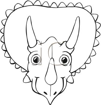 Black and White Cartoon of a Triceratops Face - Royalty Free ...