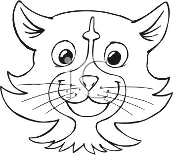 Black And White Cartoon Of A Cat Face Royalty Free Clip Art Picture