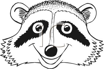 Black and White Cartoon Raccoon Face