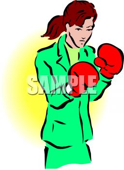 Tough Businesswoman Wearing Boxing Gloves
