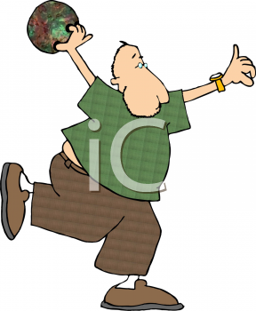 Funny Cartoon Man Bowling
