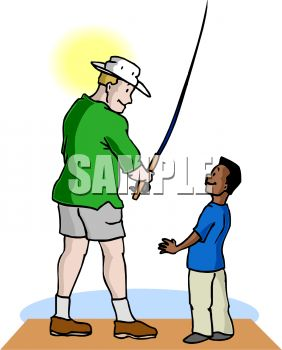 Boy Fishing with His Step Dad