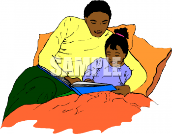 Little Black Girl Reading a Bedtime Story with Her Dad