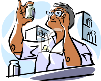 Pharmacist Reading a Bottle of Medication - Royalty Free Clip Art ...