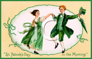 Vintage Postcard of a Young Irish Couple Dancing