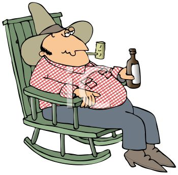 Farmer Having a Beer in His Rocking Chair