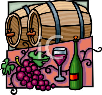 Wooden Barrels of Wine and a Bottle