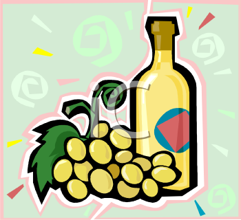 Bottle of White Wine with Yellow Grapes