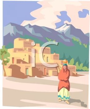 clip art image  desert indian pueblo at the foot of a mountain range