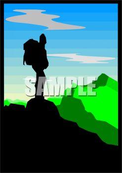 Silhouette of a Man Standing on a Mountain Peak