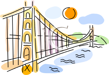 Famous Bridge in San Francisco - Royalty Free Clip Art Picture