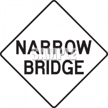 "Narrow Bridge Road Sign. Image Description: This """" clip art image is"