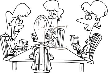 Black and White Cartoon of a Bunch of Ladies Playing a Game of Bridge